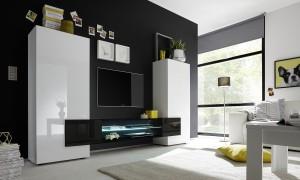 Incastro Porta Tv  alto bianco-nero LQ